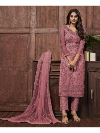RF - Lovely Pink Butterfly Net Embroidered Pakistani Straight Suit