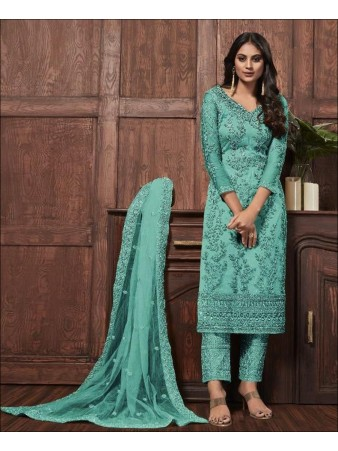 RF - Lovely Aqua Blue Butterfly Net Embroidered Pakistani Straight Suit