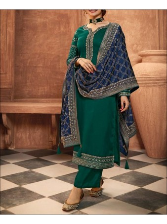 RF - Green color Satin Georgette Palazzo Suit.