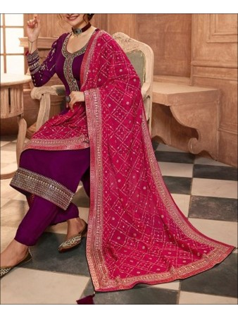 RF - Wine color Satin Georgette Palazzo Suit.