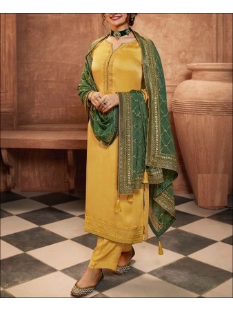 RF - Yellow color Satin Georgette Palazzo Suit.