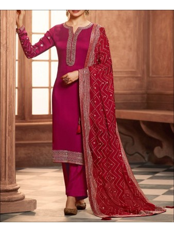 RF - Pink color Satin Georgette Palazzo Suit.