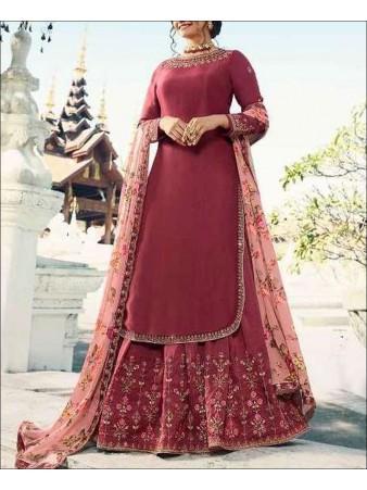 RF - Maroon color Muslin Satin Gharara Dress.