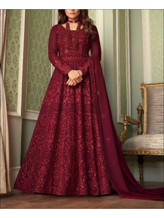 RF - Red color Georgette Gown Dress.