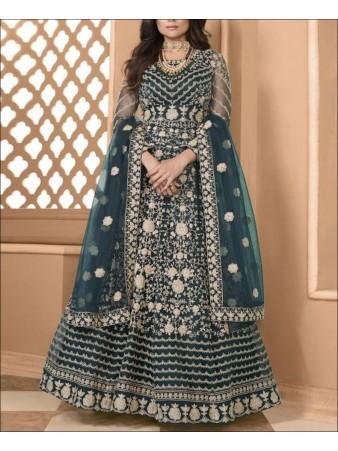 RF - Aqua Blue color Soft Net Gown Dress.