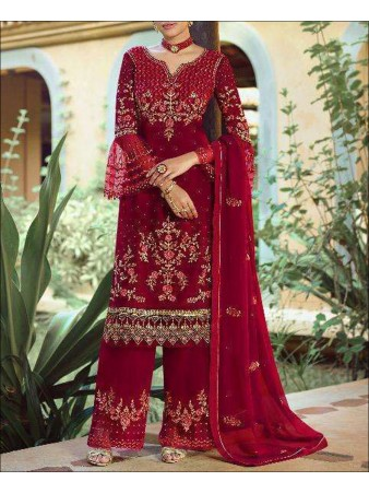 RF - Red color faux Georgette Palazzo Suit.