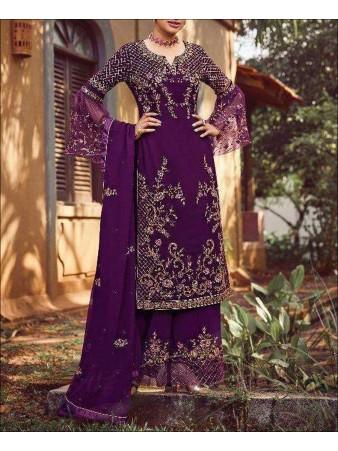 RF - Purple color faux Georgette Palazzo Suit.