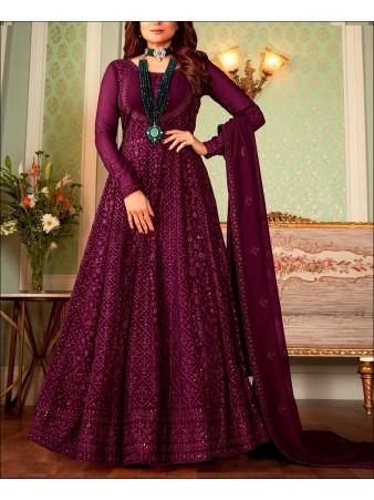 RF - Purple color Georgette Gown Dress.