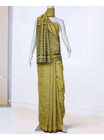 RE - Murmurous Yellow cotton Silk woven saree