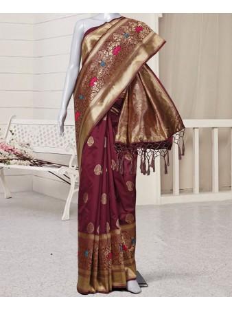 RE - Pleasing Maroon silk self weaving saree