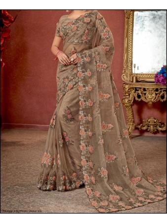VF - Floral embroidered beige organza silk saree