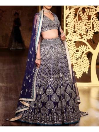 RE - Heavy embroidered taffeta silk sequence blue lehenga choli