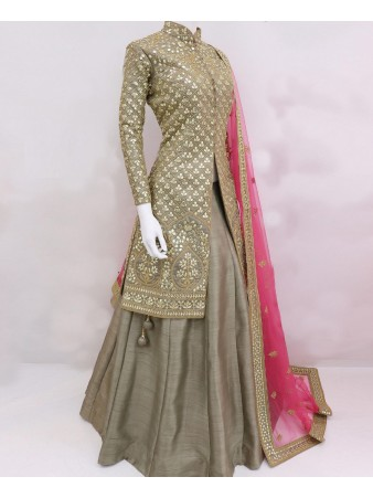 RE - Trendy Embroidered Silk semi-stitched Indo Western