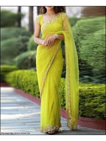 VF - Beautiful GreenBice Net Stone work saree