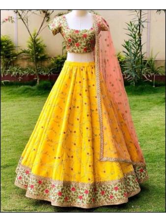 VF - Floral embroidered yellow joya silk lehenga choli