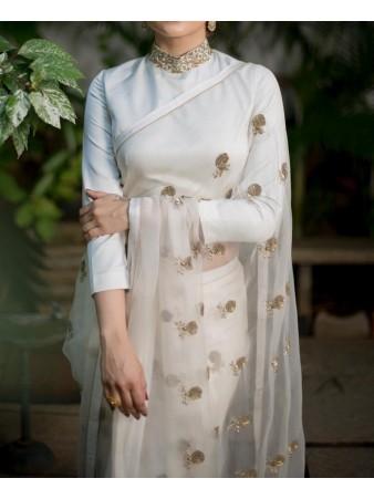 VF - Celebrity style white organza silk saree