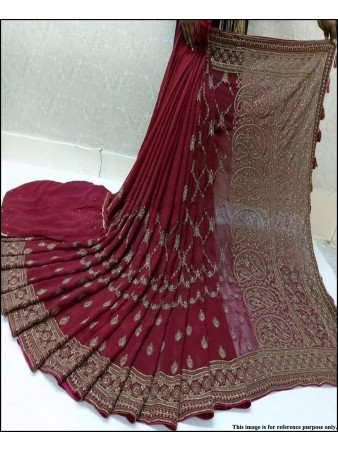 VF - Elegant Red Faux georette heavy embroidered,stone work saree