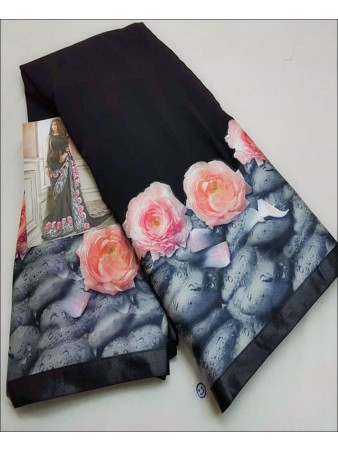 RE - Multicolored Faux Gerogette Floral Digital Print Saree