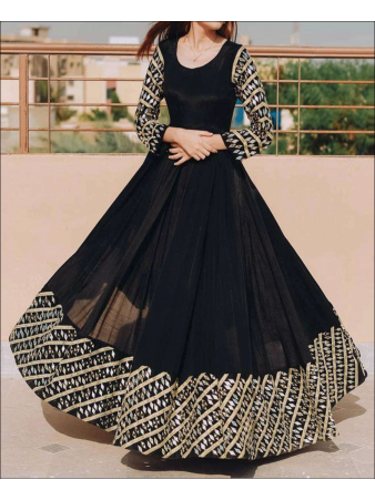 RE - Black Colored Georgette Foil Mirror Work Gown