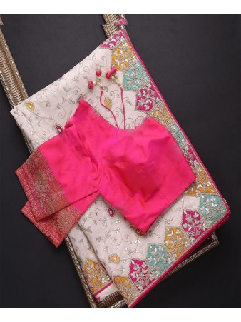 RE - Beige Colored Vichitra Silk Embroidered Work Saree
