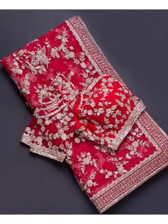 RE - Red Emroidered Work Net Saree