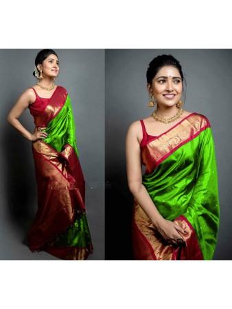 CM- Parrot Green color Soft Lichi Silk saree