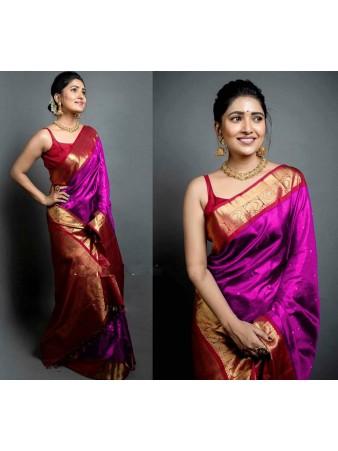 CM- Purple color Soft Lichi Silk saree