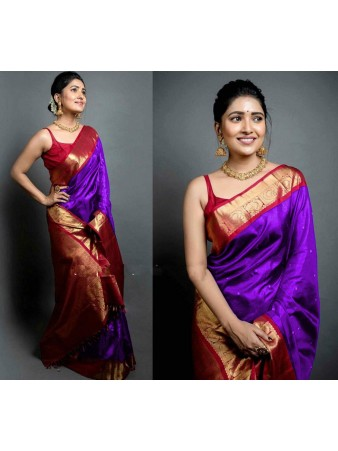CM- Violet color Soft Lichi Silk saree