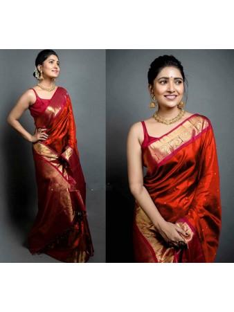 CM- Red color Soft Lichi Silk saree